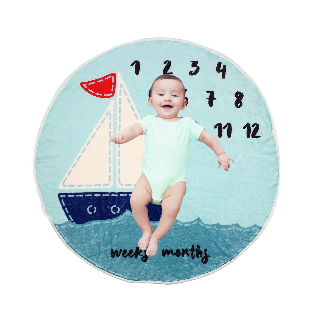 Manta para bebé con diseño de hitos mensuales, leegoal para recién nacido, con guirnalda de velero, para niños y niñas