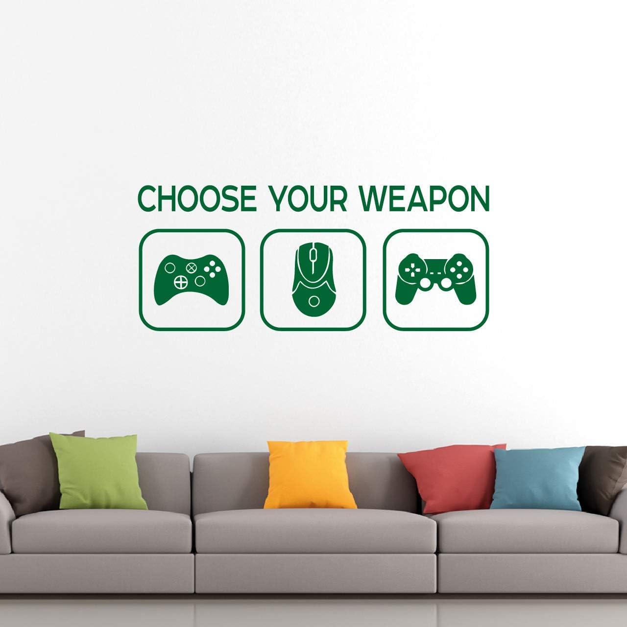 Choose Your Weapon Sticker - elige tu arma juego vinilo calcomanía mural - niños adolescente dormitorio, de arte lienzo decoración para el hogar pc, xbox, controladores de juegos playstation (verde): Amazon.es: Bricolaje