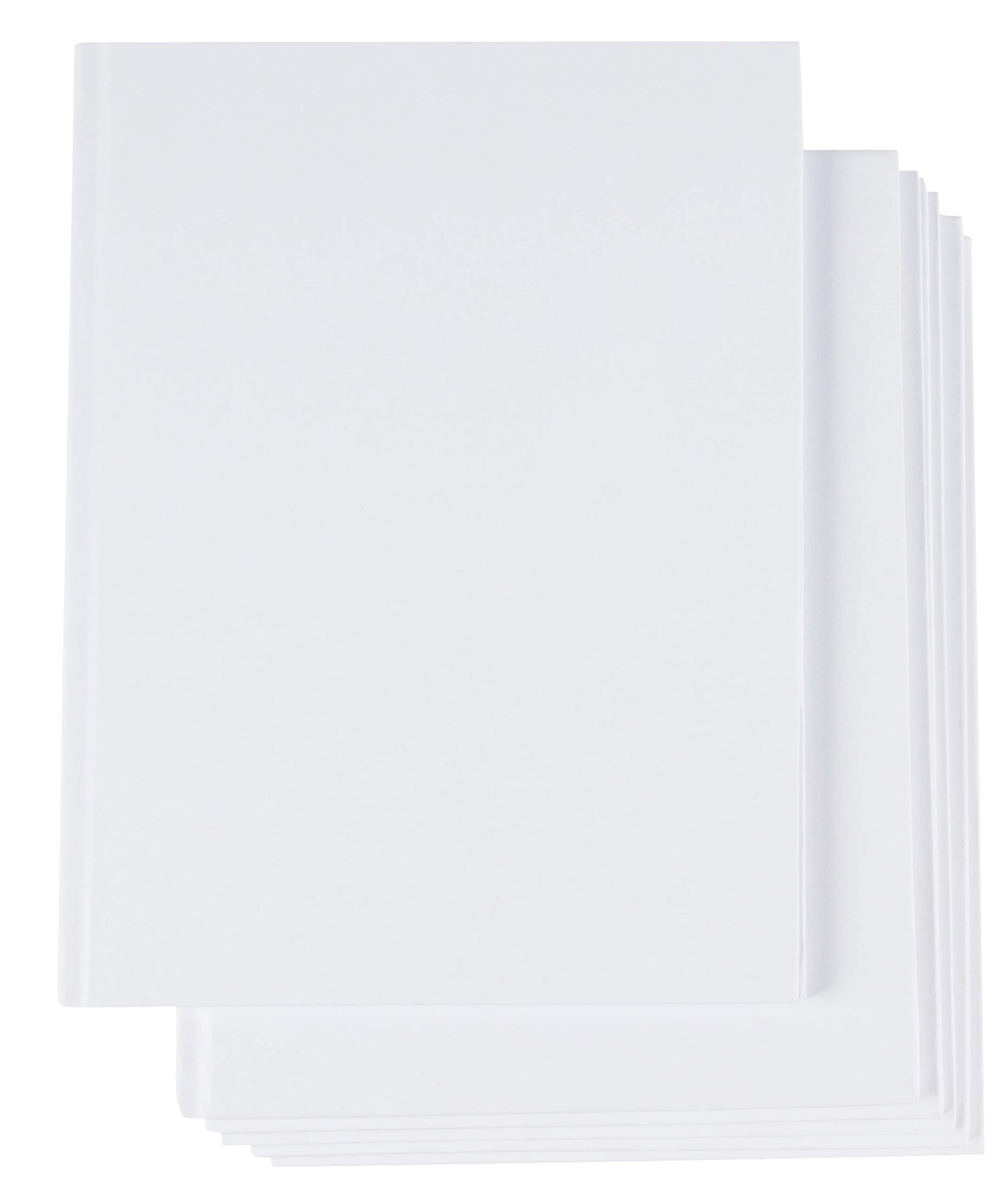 Hardcover Blank Book - 6-Pack Unlined Sketchbooks, Unruled Plain Travel Journals for Students Sketches, Children's Writing Books, Creative Class Projects, White, 6 x 8 Inches, 18 Sheets Each