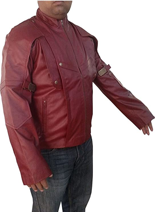 Bestzo Mens Fashion Guardian of Galaxy Real Leather Biker Jacket Burgundy