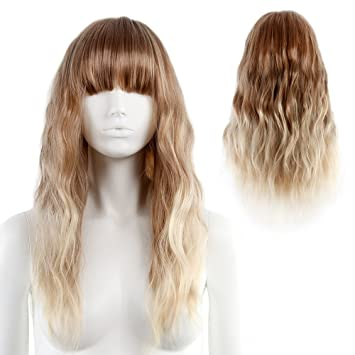 STfantasy Ombre Blonde Wig Light Bangs Natural Wave Long Curly for Women  Cosplay Party Ripple Hair 121c917cdbc9