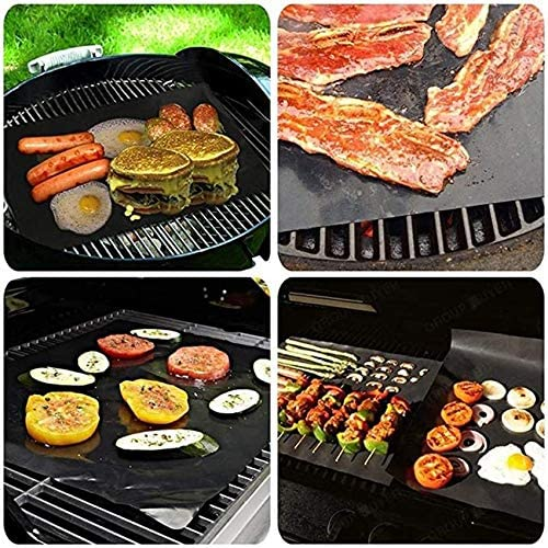 N/E Tapis de cuisson anti-adhésif réutilisable, résistant à la chaleur, pour barbecue, barbecue, barbecue, barbecue, viande, feuilles de 40 x 33 cm, noir