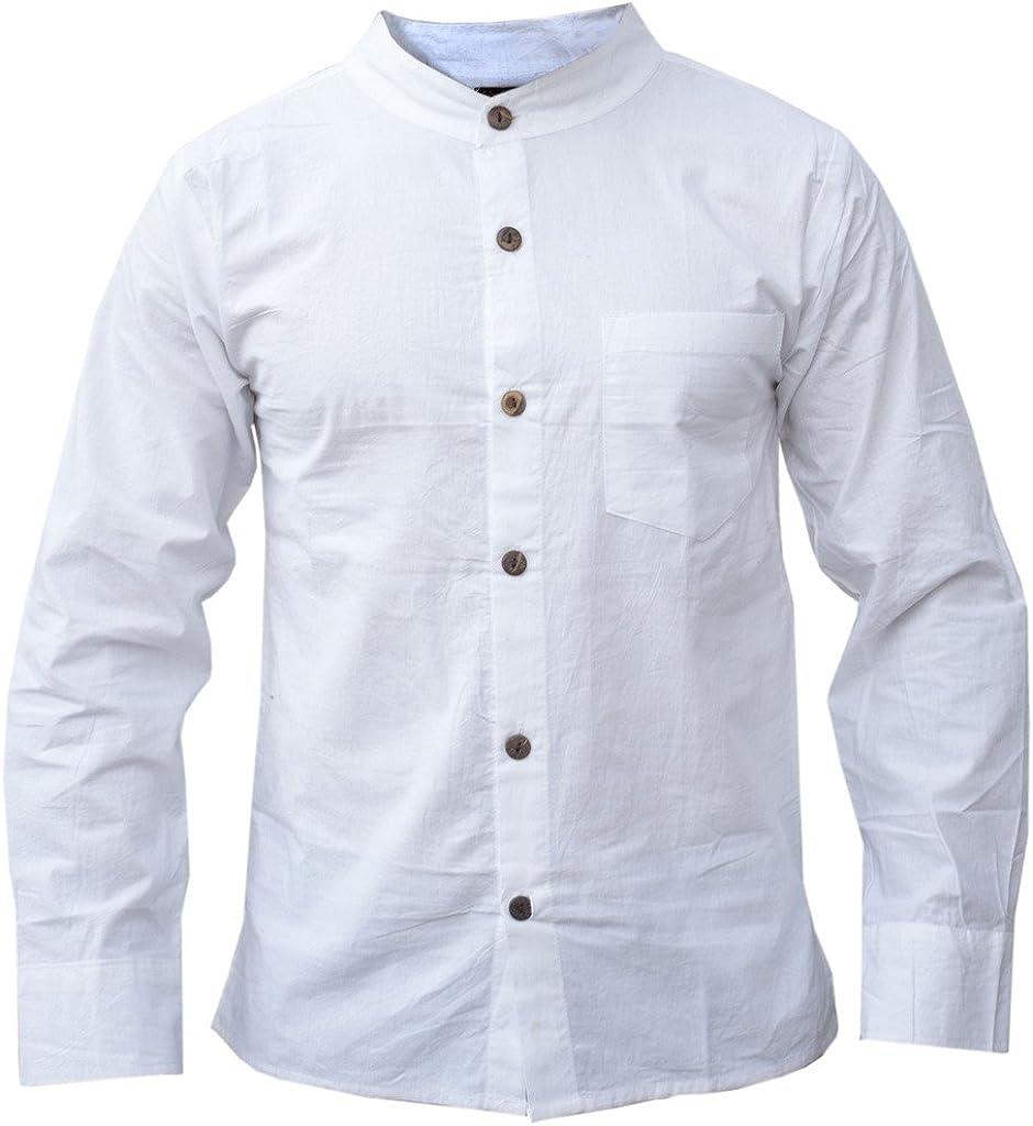 Gheri Camisa de lino para hombre de algodón blanco festival verano: Amazon.es: Ropa y accesorios