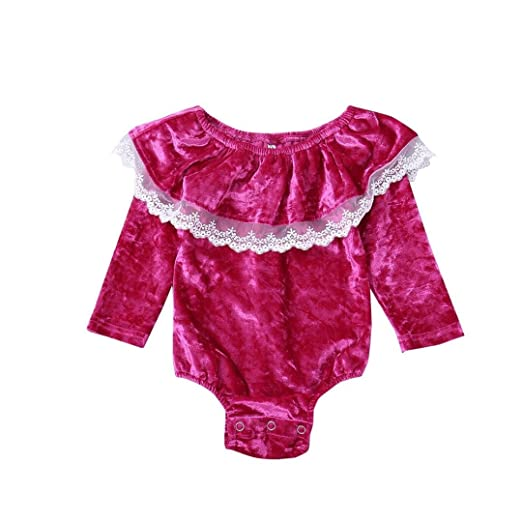 191288aa614 Hatoys Cute Newborn Toddler Baby Girls Solid Flock Ruffles Lace Jumpsuit  Bodysuit Clothes Rompers (6M