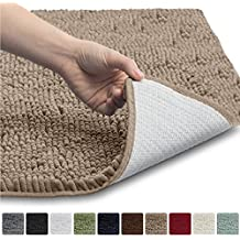 """Gorilla Grip The Original Shaggy Chenille Bathroom Rug Mat, 3 Sizes and 10 Colors, Extra Soft and Absorbent, Machine-Washable, Perfect for Bath, Tub, and Shower (Beige, 30"""" x 20"""")"""