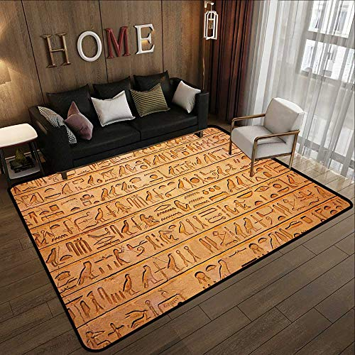 Bath Rugs for Bathroom,Egyptian Decor Hieroglyphics Great Pyramid Papyrus Ancient Stone Carving Cave Picture,Golden Brown 35