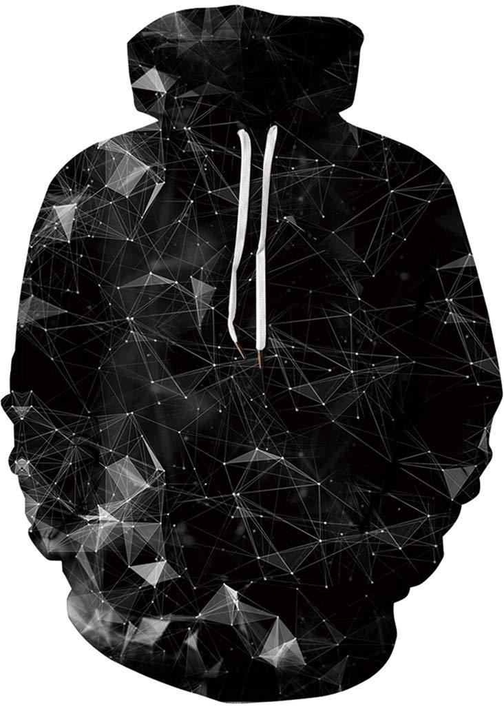 dd0c51d5e21f Galleon - FLYCHEN Men's Digital Print Sweatshirts Hooded Top Galaxy Pattern  Hoodie S/M Black Forest