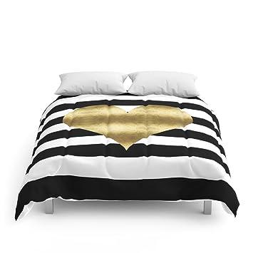 society6 gold heart black and white stripe comforters full 79 - Black And White Comforter