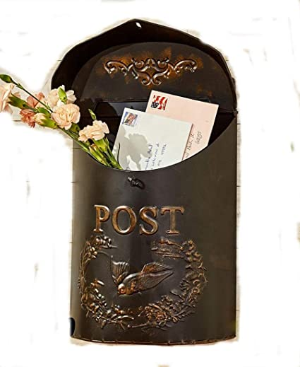 Vintage Decorative Metal Postbox Wall Mounted Embossed Distressed Finish Antique