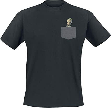 ABYstyle - Marvel - Camiseta - Pocket Groot - Hombre - Negro (M)