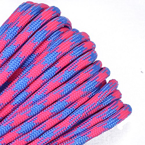 (Bored Paracord - 1', 10', 25', 50', 100' Hanks & 250', 1000' Spools of Parachute 550 Cord Type III 7 Strand Paracord Well Over 300 Colors - Pink Sky Camo)