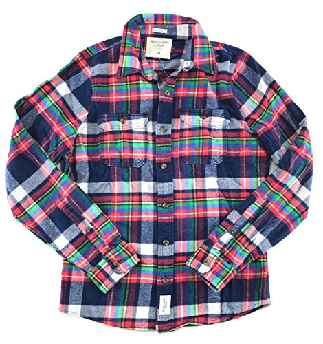 (Abercrombie & Fitch Mens Flannel Long Sleeve Shirt Red Navy White Green 1219 Medium)