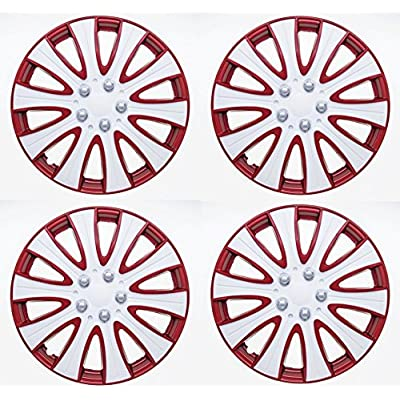 SUMEX Tampa Performance Wheel Cover, Hub Cap (Pack of 4) (15, red & White): Automotive