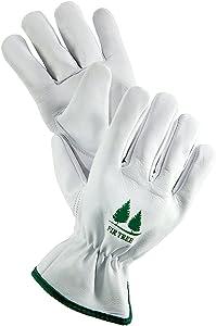 FirTree Brand Leather Work Gloves. Premium Goatskin Utility Gloves. Great Gardening Gloves, Outdoor Working Gloves and Drivers Gloves. for Men and Women (Size Chart Pictured).