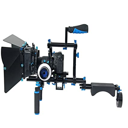 Yel angu D201 DSLR hombro trípode Rig Kit, enfoque Follow + Matte ...