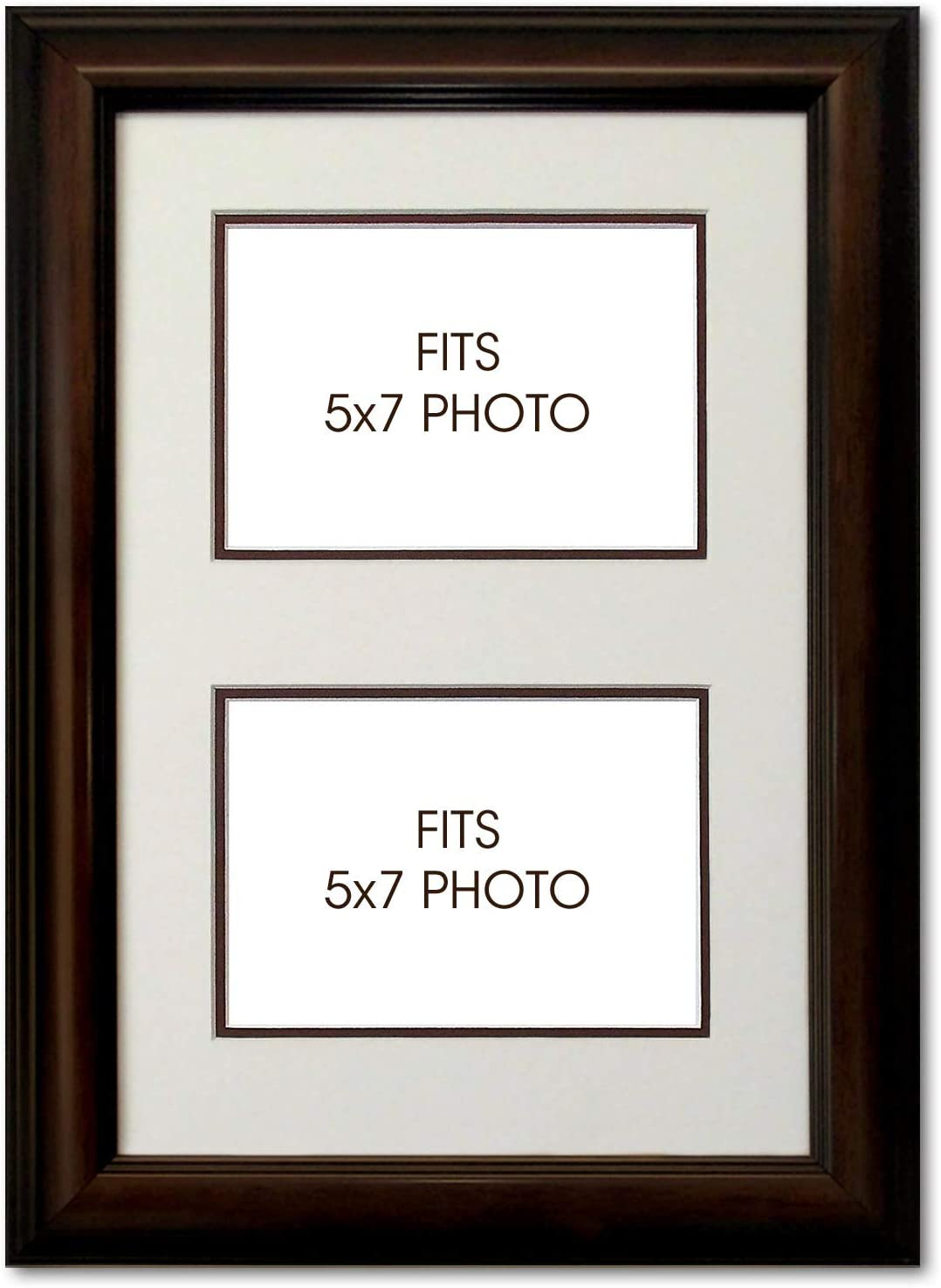 Dark Brown Wooden Photo Picture Frame with White Mount Choose size