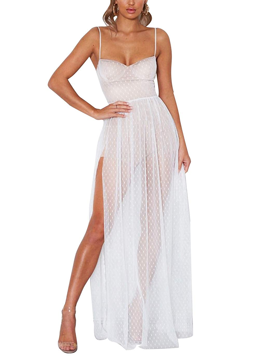 Carolilly Damen Mode Streetwear Transparent Kleid Party Clubwear Unterkleid Bikini Cover up