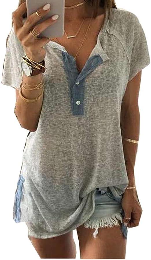 Meikosks Plus Size Button Blouse Ladies O-Neck Printing T Shirt Loose Short Sleeve Cotton Line Tops