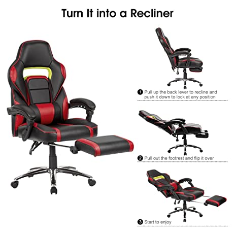 LANGRIA Faux Leather Racing Gaming Chair Computer Office Chair, With  Footrest And Lumbar Cushion,