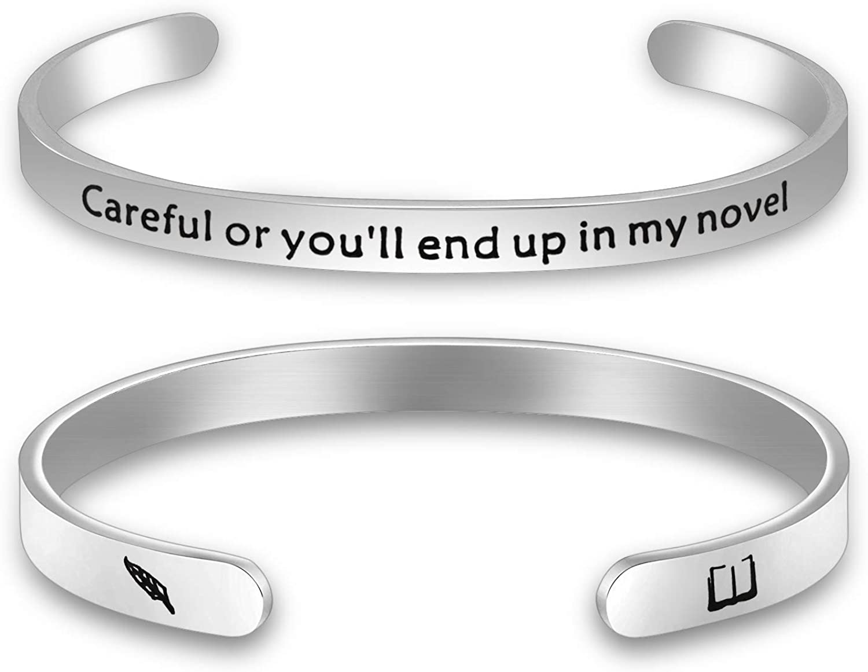 Gzrlyf Writer Bracelet Author Bracelet Writer Gift Novelist Gift Careful Or Youll End Up in My Novel Jewelry Writing Gift Author Jewelry