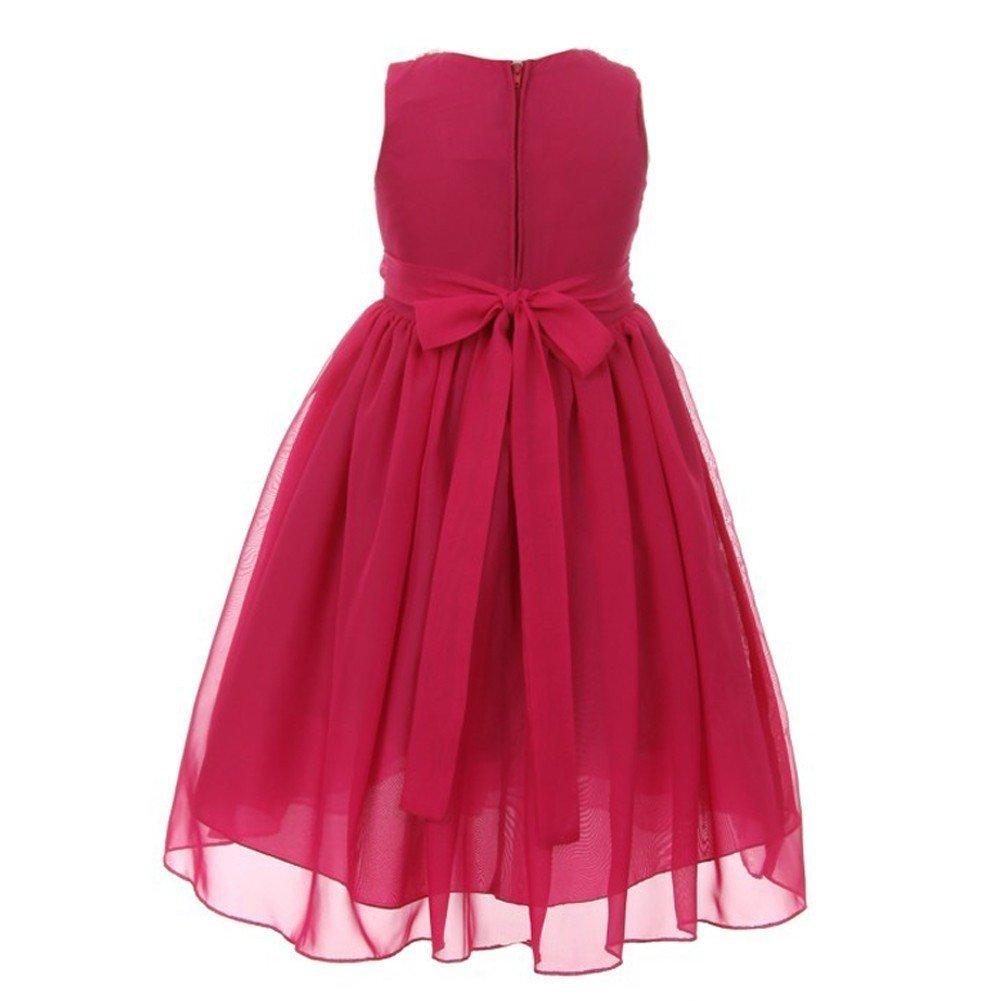 4ffd990446d7f Kiki Kids Big Girls Hot Pink Chiffon Beaded Neckline Flower Girl Dress 14:  Amazon.ca: Clothing & Accessories