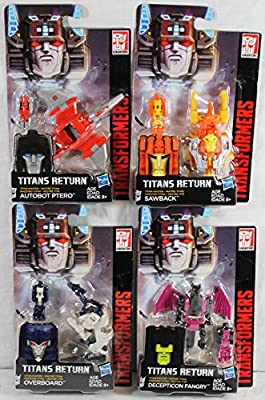 Set of 4: Transformers Generations Titan Masters Action Figure Wave 3 - Fangry, Sawback, Overboard, Ptero
