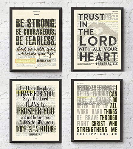 Joshua 1:9, Proverbs 3:5, Jeremiah 29:11, Philippians 4:13 Christian ART PRINTS Set of 4, UNFRAMED, Bible verse scripture wall decor poster, 8x10 inches ()