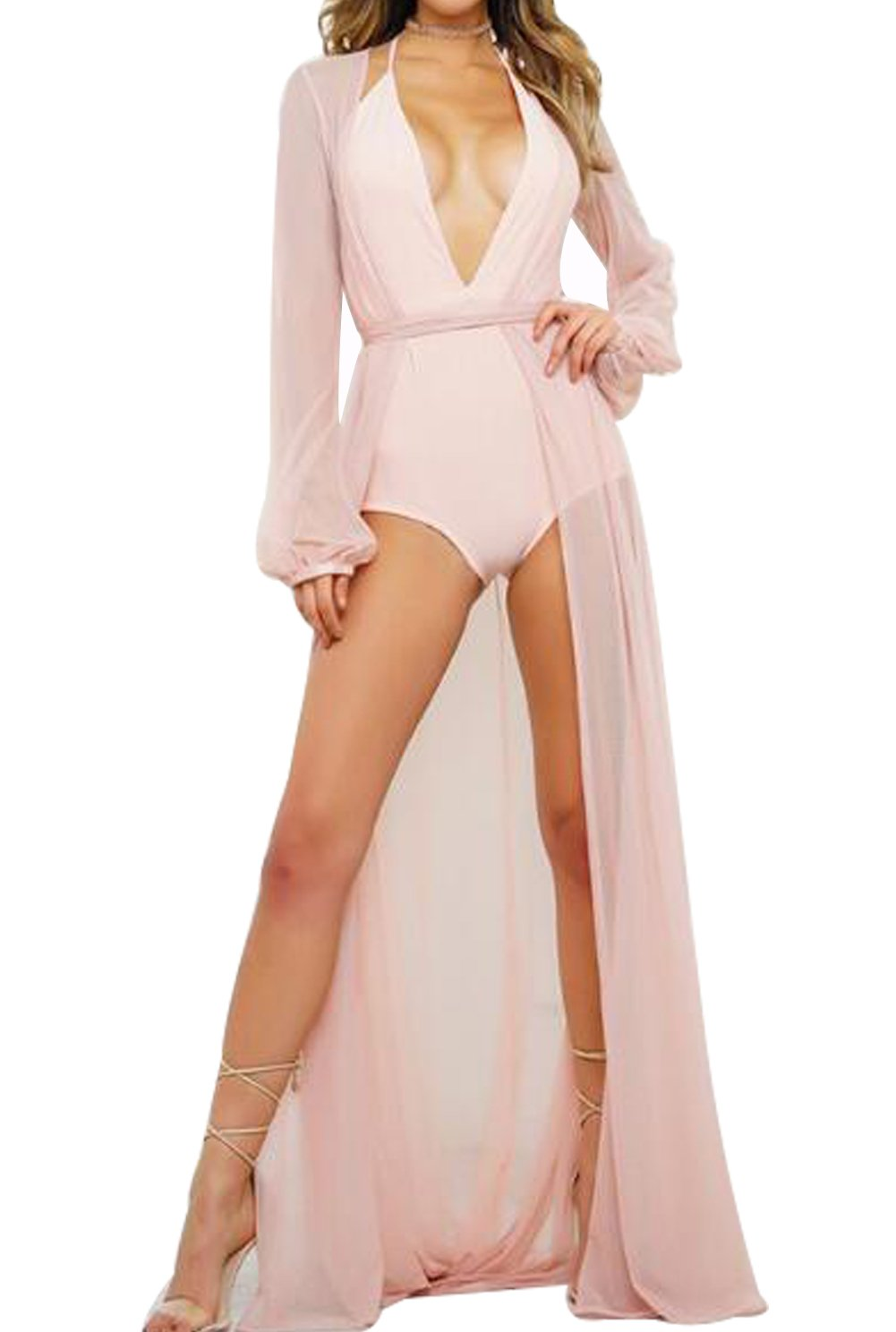 Women's Sexy Sheer Mesh Belted Solid Short/Long Sleeve Cover up Kimono Cardigan Size L (Pink 2)