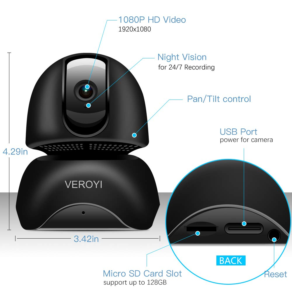 Veroyi 1080P Full HD IP Camera Wireless WiFi Home Security Surveillance Camera with Two-Way Audio, Motion Detection, IR Night Vision for Baby Elder Pet Monitor