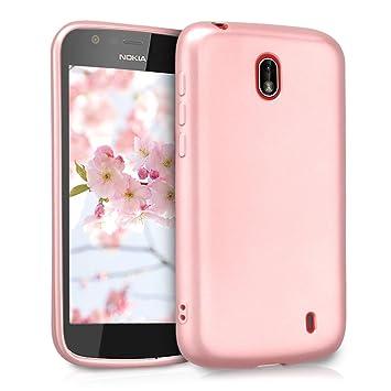 kwmobile Funda para Nokia 1 - Carcasa móvil de Silicona Flexible - Protector Trasero en Oro Rosa Metalizado