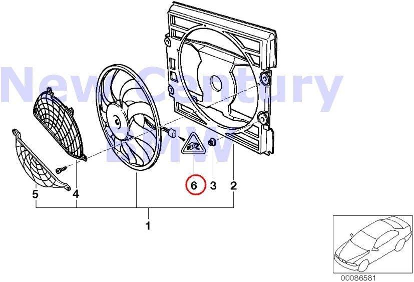 BMW auténtica Ventilador vivienda de montaje partes Pusher Ventilador Pin Terminal 3 pol. 320i 323 Ci 323i 325 Ci 325i, 325 x i 328 Ci 328i 330 Ci 330i 330 x i M3: Amazon.es: Coche y moto