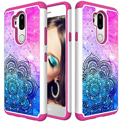 Price comparison product image Futanwei Glitter Case for LG G7 / LG G7 ThinQ,  [Hard PC+Soft Silicone+Bling Rhinestone] Dual Layer Hybrid Case Luxury Sparkly Diamond with Floral Colorful Mandala Design Shockproof Full-Body Cover