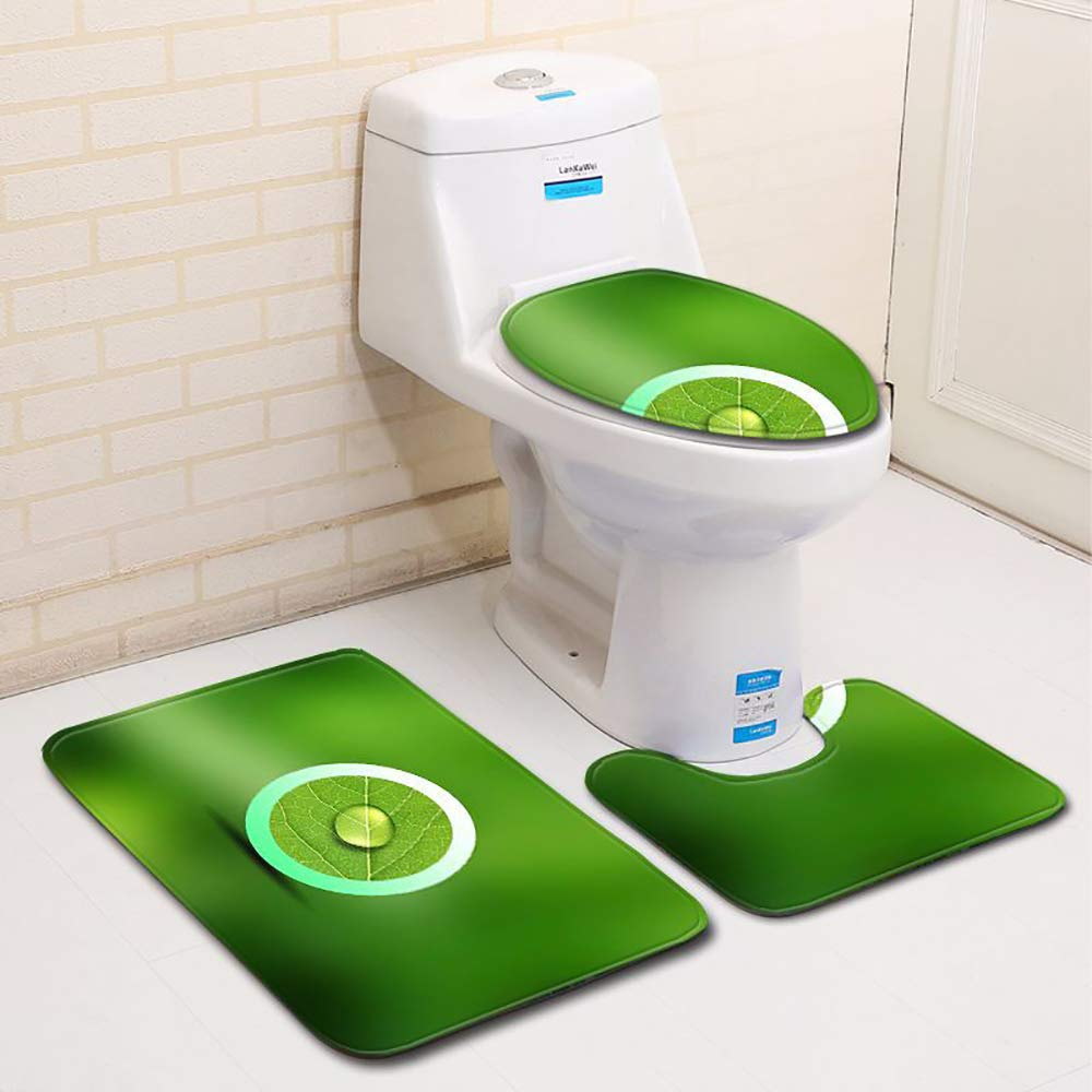 GYCC Bath Rug Set 3pcs 1 U-Shape Contoured Toilet Mat u0026 2 Carpet Non Slip Shaggy Super Absorbent Plush Rugs for Tub Shower Bathroom-5-S