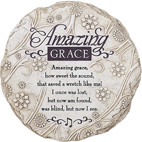 Religious Stone (Amazing Grace How Sweet the Sound Floral 9 Inch Resin Outdoor Garden Stepping Stone)