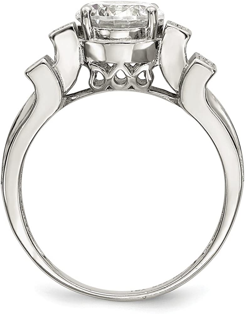 Sterling Silver Fashion Ring Open Back Flat Solid Polished 3-4.5 mm CZ Tiered Pav/' Ring