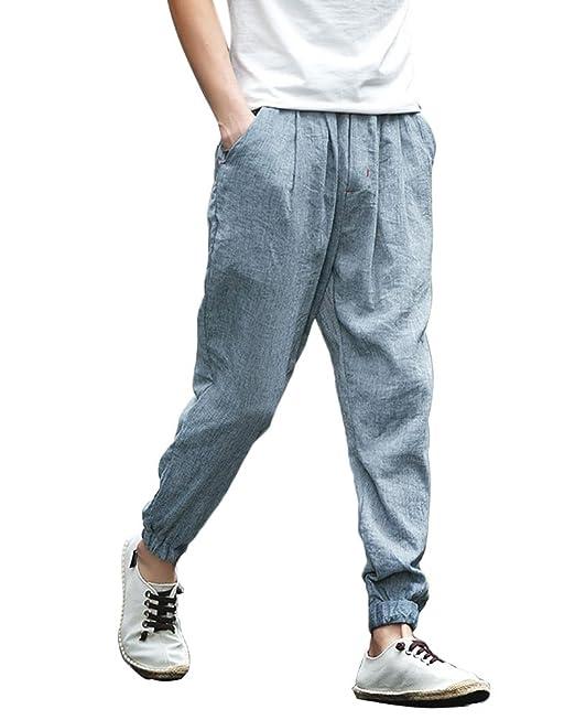 b786380ac829c8 Minetom Uomo Ragazzo Pantalone Casual Traspirante Lungo Lino Cotone Leggero  Estivo Slim Cerniera Elastic con Comodo Cordoncino in Vita: Amazon.it: ...