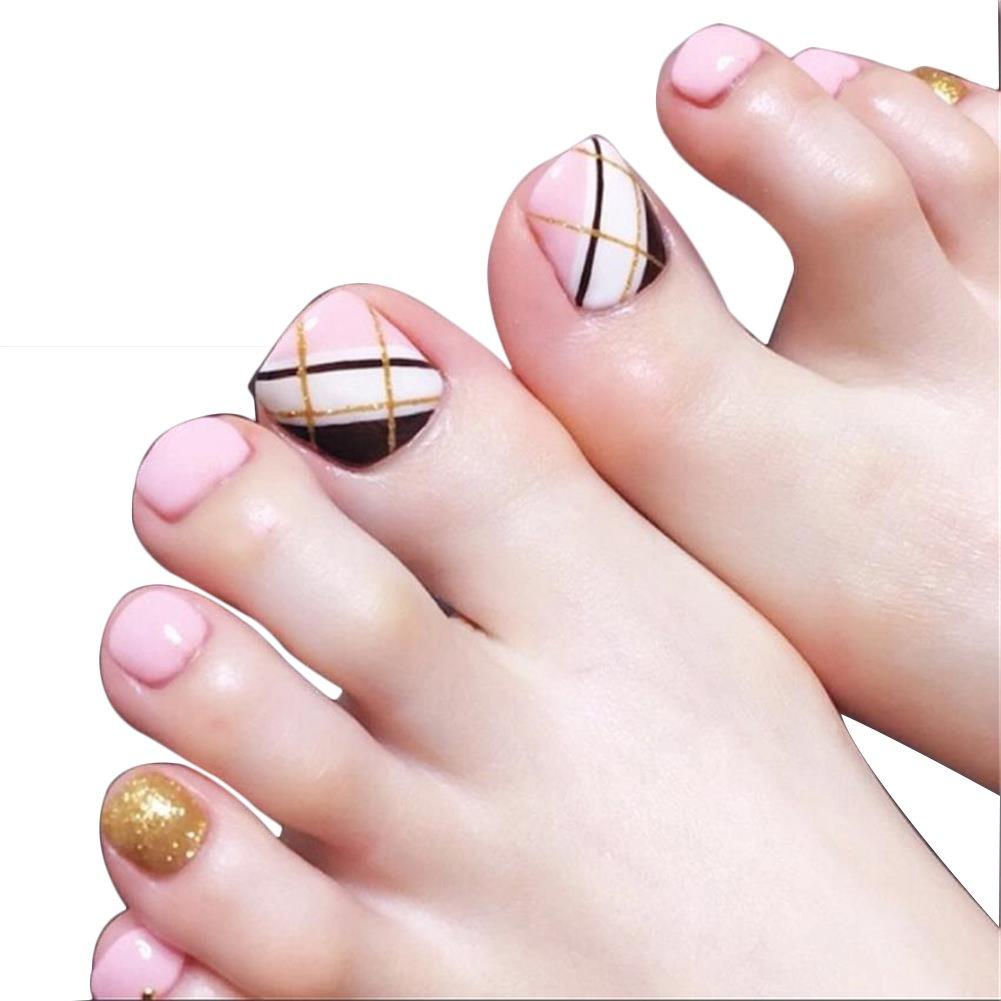 24pcs Short False Toe Nails with Glue Design for Women Girls Press on Toenails Full Cover French Toenail Art