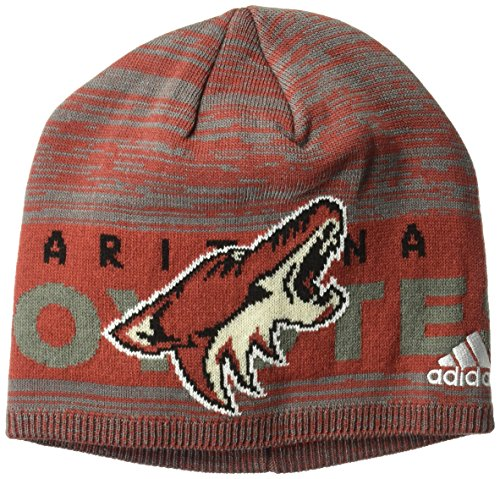 fan products of NHL Arizona Coyotes Adult Men Pro Authentic Cuffed Beanie with Chrome Shield, One Size, Red