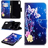 Cfrau Wallet Case with Black Stylus for iPhone XS Max,Slim Colorful Print Magnetic Flip Soft Silicone Card Slots Stand Full Body PU Leather Case for iPhone XS Max 6.5 inch,Butterfly Rose
