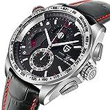 Men's Quartz Analog Chronograph Watch With Date 3ATM Waterproof Wristwatch Black Genuine Leather Strap