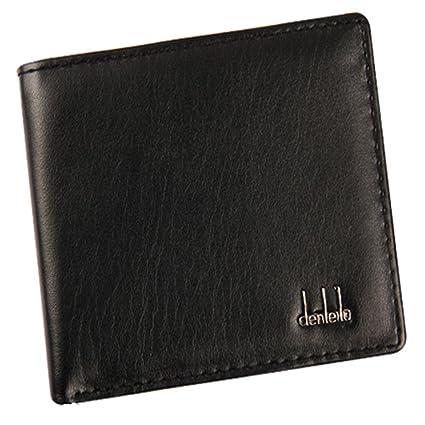 AIMEE7 Billetera HombreCuero Original Sujetadora Tarjeta Crédito Dinero Cartera de negocios (Negro)