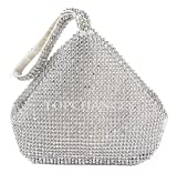 TOPCHANCES Triangle Full Rhinestones Women's Evening Clutch Bag Party Prom Wedding Purse (Upgrade Silver Bag)