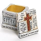 Faith-Filled Sentiments Crossword Whitewashed 2.25 x 2.25 Resin Trinket Box