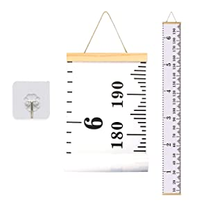 Kids Growth Chart,Bingolar Children Height Chart Growth Wall Chart Height Wall Chart Art Hanging Rulers for Kids Bedroom Nursery Wall Decor Removable Height and Growth Chart(White 7.9 x 79in)