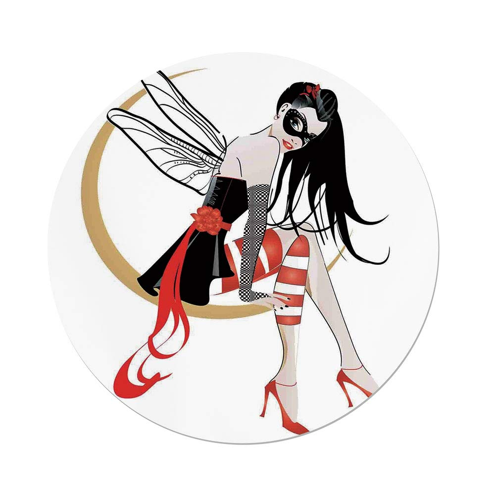 iPrint Polyester Round Tablecloth,Gothic,Stylish Girl with Mask and Wings on the Moon Luna Fantasy Artsy High Heals Fashion,Black Red,Dining Room Kitchen Picnic Table Cloth Cover,for Outdoor Indoor by iPrint