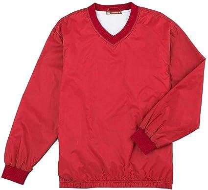 Amazon.com: Harriton Athletic V-Neck Pullover Jacket-4XL (Red ...