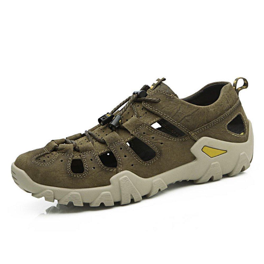 Sandalias De Verano Zapatos De Playa De Cuero para Hombres Zapatos De Moda De Cuero para Hombres Khaki