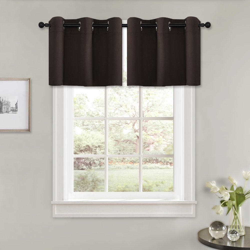 Valances Window Treatments PONY DANCE Short Tier Valances - Windows Treatments Kitchen Curtain Drapes  for Small Windows Basement-Dining Room, 42-inch by 24-inch, Chocolate  Brown, ...