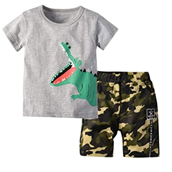 e68ce466a3a6 Cyhulu Toddler Kids Baby Boys 2Pcs Summer Outfits Set Short Sleeve Cartoon  Print T-shirt