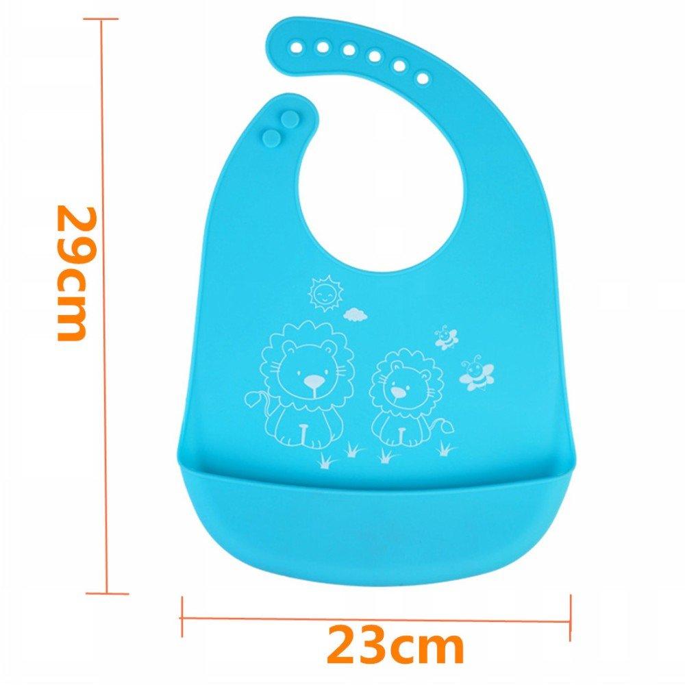 c/ómodos y f/áciles de limpiar para beb/és menores de 6 a/ños rosa rosa con bolsillo para recoger las migas de los alimentos 2 baberos de silicona impermeables para beb/é unisex
